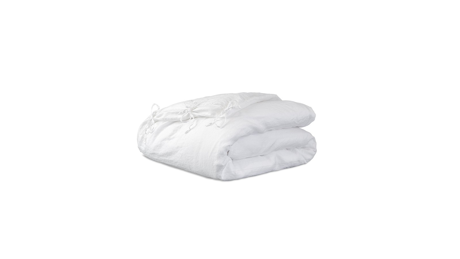 Housse d'édredon 110 x 160 cm en lin lavé uni Blanc Optique