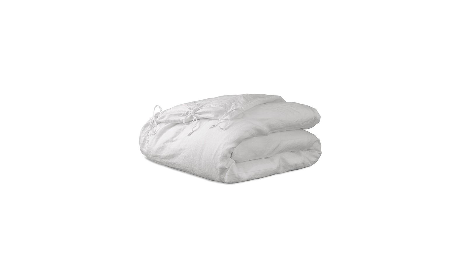 Housse d'édredon 110 x 160 cm en lin lavé uni Petit Lait