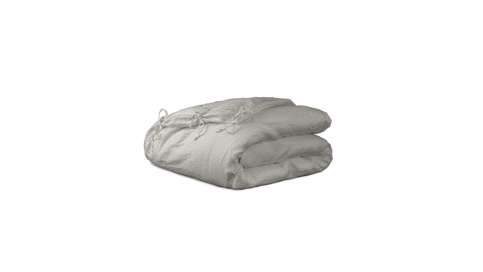 Housse d'édredon 110 x 160 cm en lin lavé uni Argile