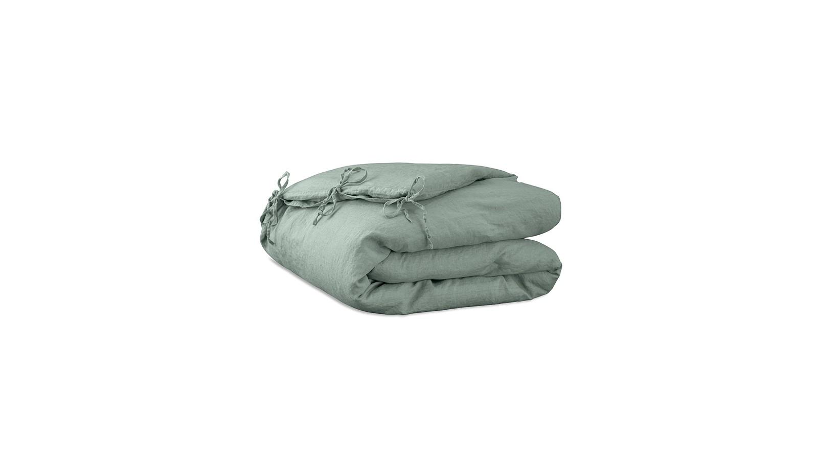 Housse d'édredon 110 x 160 cm en lin lavé uni Vert Céladon