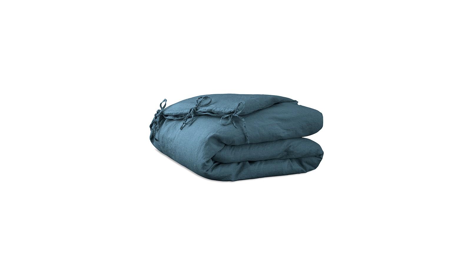 Housse d'édredon 110 x 160 cm en lin lavé uni Bleu Pétrole