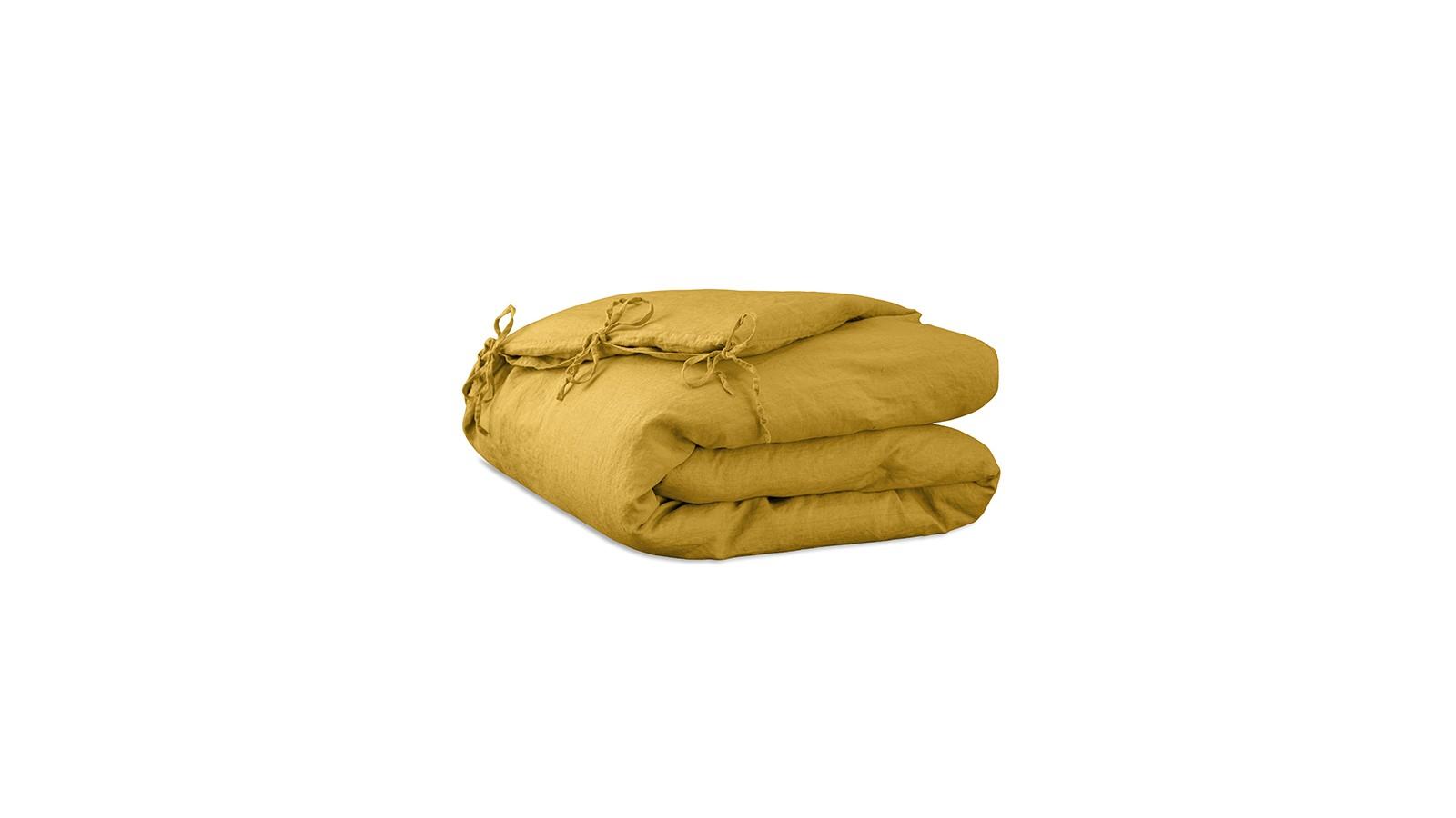 Housse d'édredon 110 x 160 cm en lin lavé uni Jaune Safran