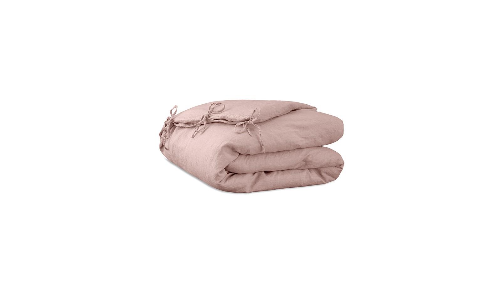 Housse d'édredon 110 x 160 cm en lin lavé uni Rose Rétro