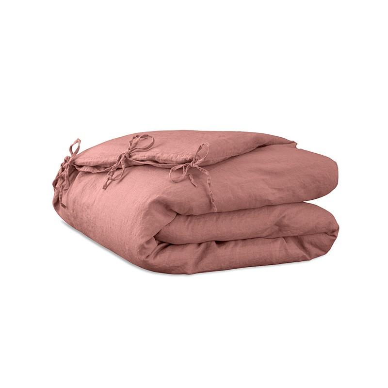 Housse d'édredon 110 x 160 cm en lin lavé uni Rose Boudoir
