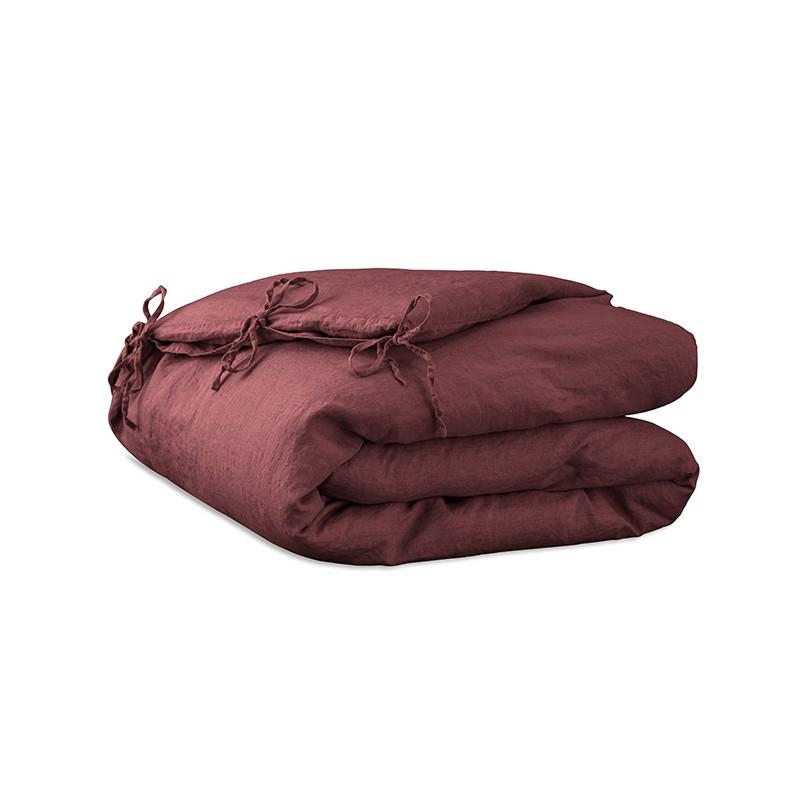 Housse d'édredon 110 x 160 cm en lin lavé uni Rose Tomette
