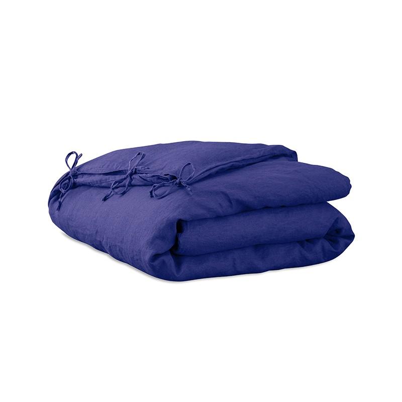Housse d'édredon 110 x 160 cm en lin lavé uni Bleu Klein