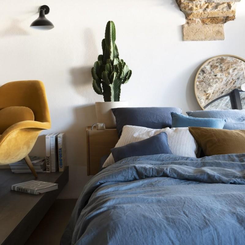 Mix and match de linge de lit couleurs Bleu Encre, Pétrole et Caramel