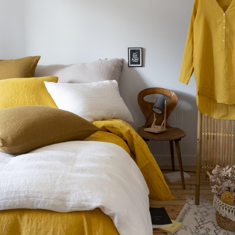 Mix and match de linge de lit couleurs Jaune Pépite, Caramel et Argile
