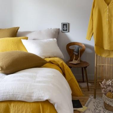 Mix and match de linge de lit couleurs Jaune Pépite, Caramel et Argile
