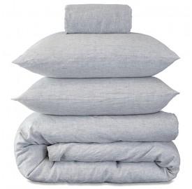 Parure de lit bébé en lin lavé chambray rayée ou chinée