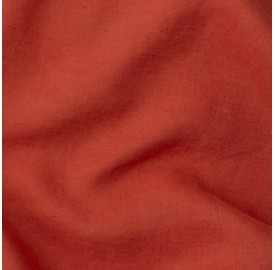 Lin lavé uni Orange Terracotta
