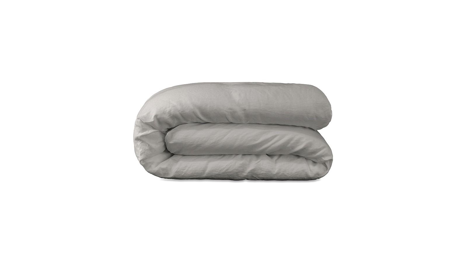 Housse de couette lit bébé 100 x 140 cm en lin lavé uni Argile