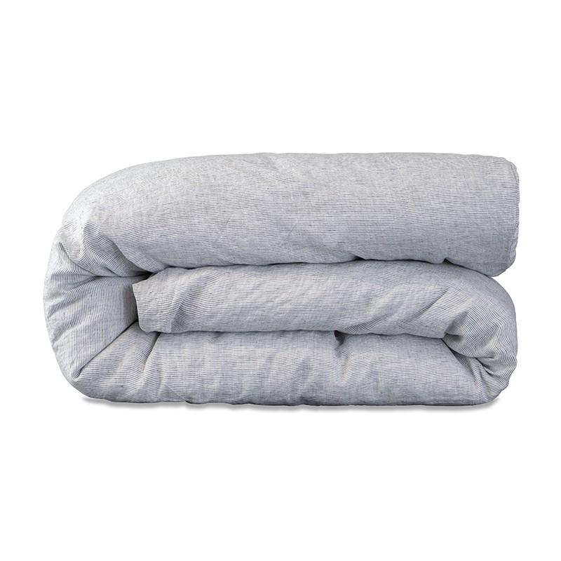 Housse de couette lit bébé 100 x 140 cm en lin lavé chambray Rayure Colette Denim
