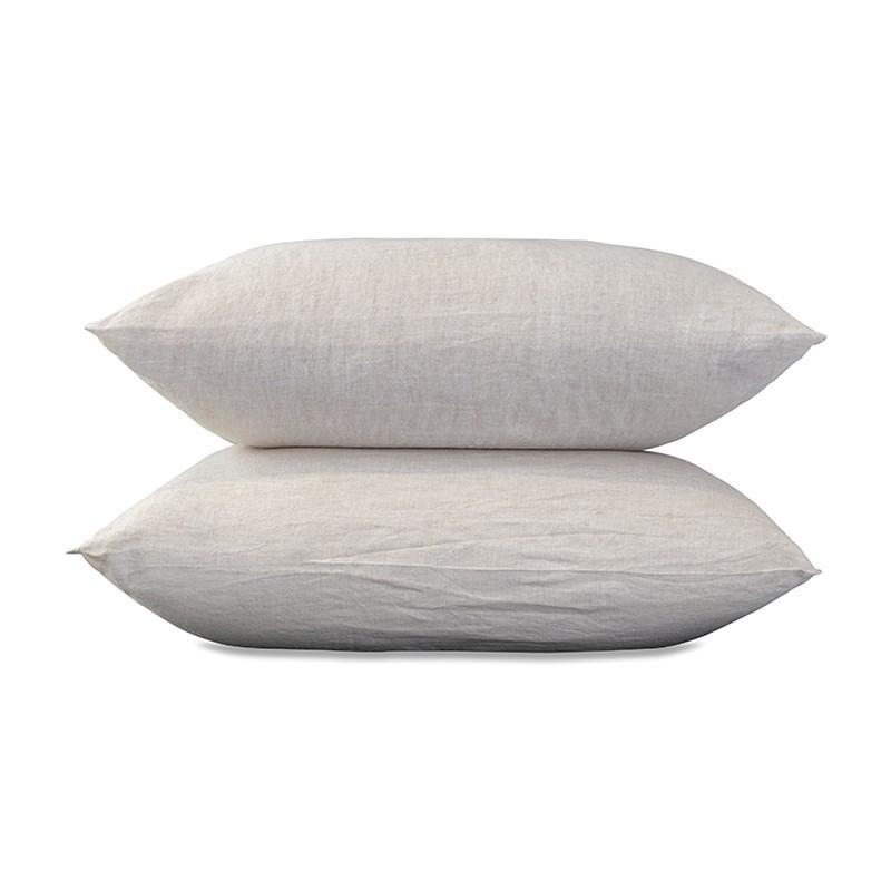 Taies d'oreiller carrées 65 x 65 cm en lin lavé chambray x2 Lin