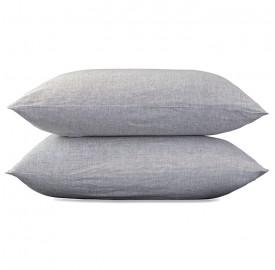 Taies d'oreiller carrées 65 x 65 cm en lin lavé chambray x2 Pierre
