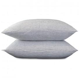 Taies d'oreiller carrées 65 x 65 cm en lin lavé chambray x2 Rayure Colette Denim