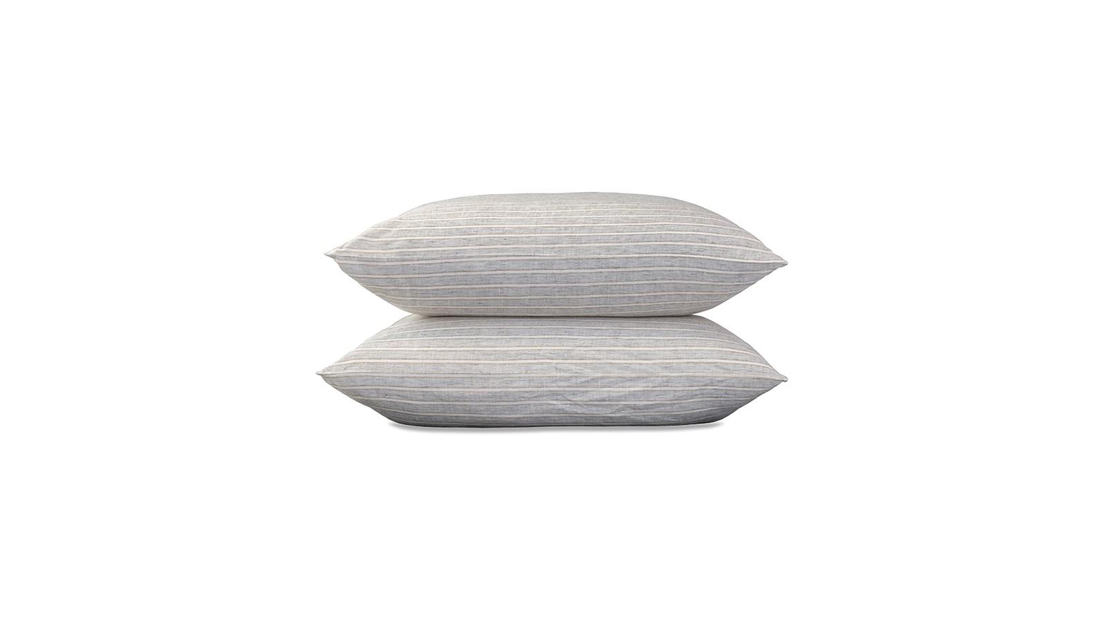 Taies d'oreiller carrées 65 x 65 cm en lin lavé chambray x2 Rayure Albert Caramel
