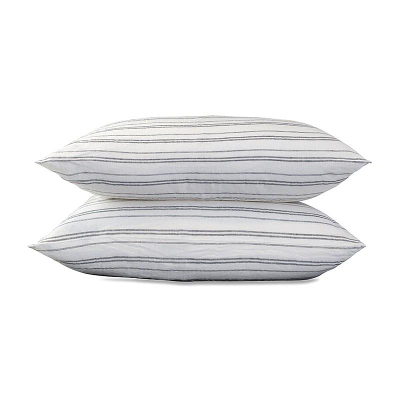 Taies d'oreiller carrées 65 x 65 cm en lin lavé chambray x2 Rayure Marcel Noir