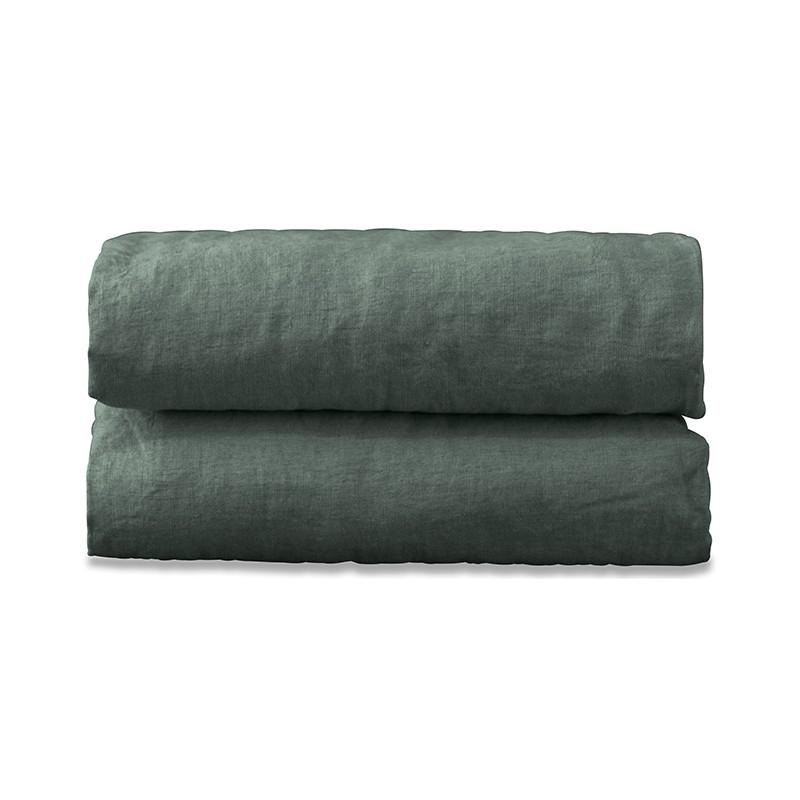 Drap housse 2 personnes en lin lavé uni Vert Eucalyptus