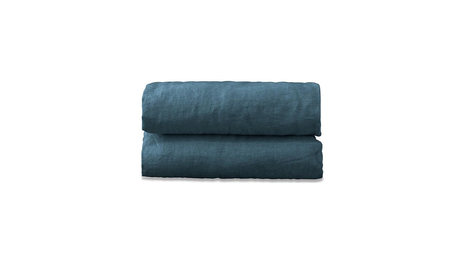 Drap housse 2 personnes en lin lavé uni Bleu Pétrole