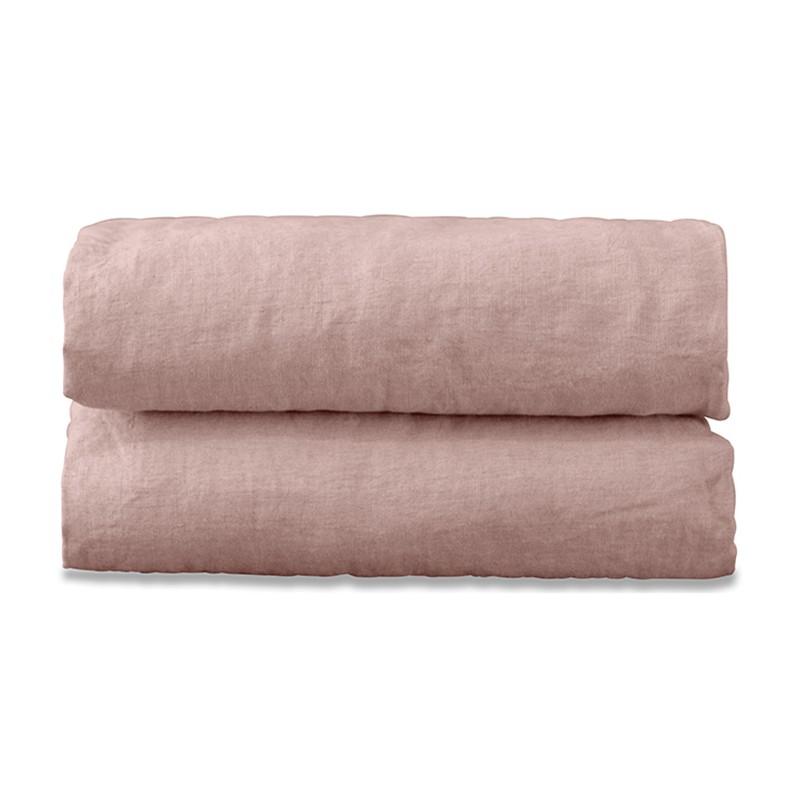 Drap housse 2 personnes en lin lavé uni Rose Rétro
