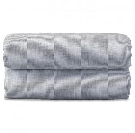 Drap housse bébé en lin lavé chambray Rayure Colette Denim