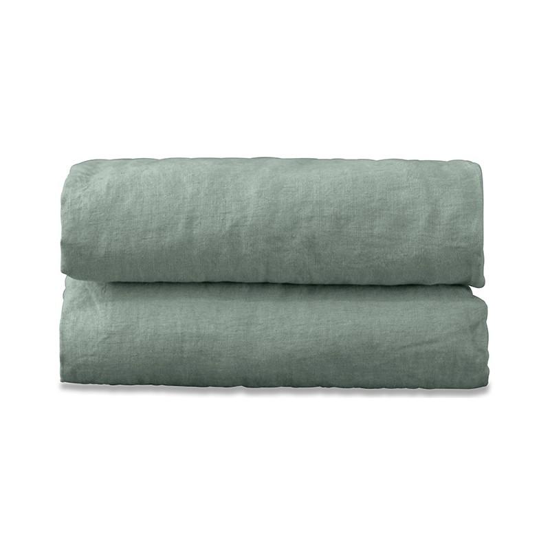 Drap plat 2 personnes en lin lavé uni Vert Céladon
