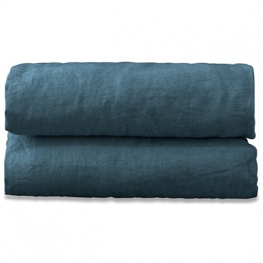 Drap plat 2 personnes en lin lavé uni Bleu Pétrole