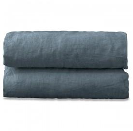 Drap plat 2 personnes en lin lavé uni Bleu Orage