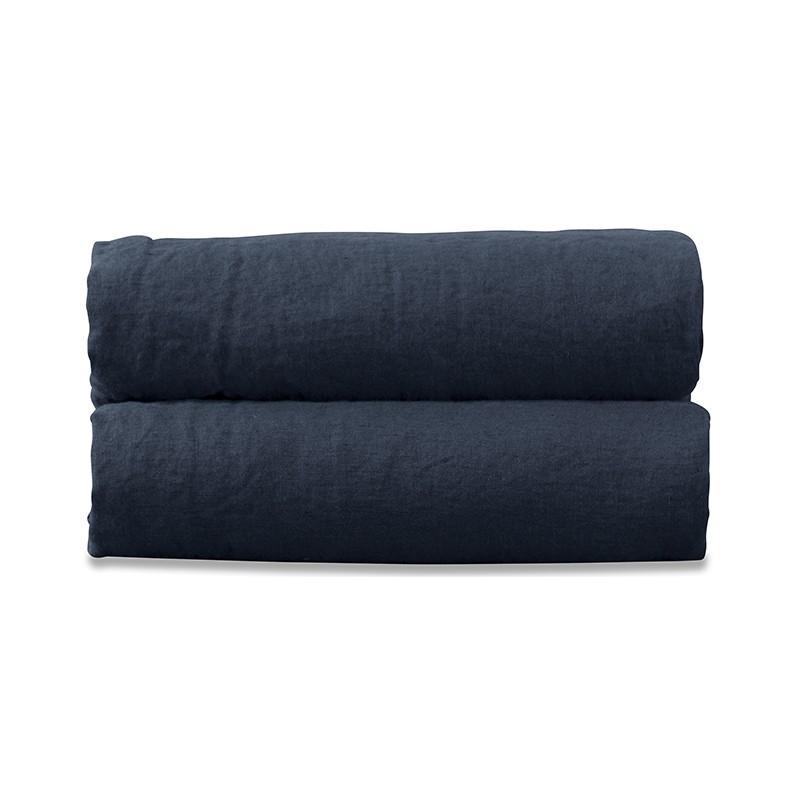 Drap plat 2 personnes en lin lavé uni Bleu Encre