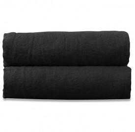 Drap plat 2 personnes en lin lavé uni Noir Noir