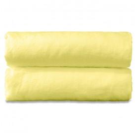 Drap plat 2 personnes en lin lavé uni Jaune Limonade
