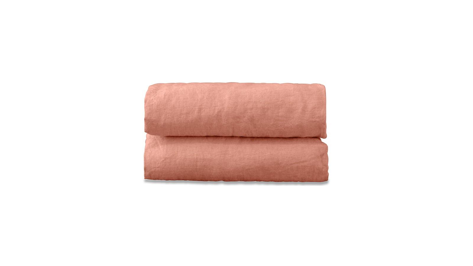 Drap plat 2 personnes en lin lavé uni Rose Melba