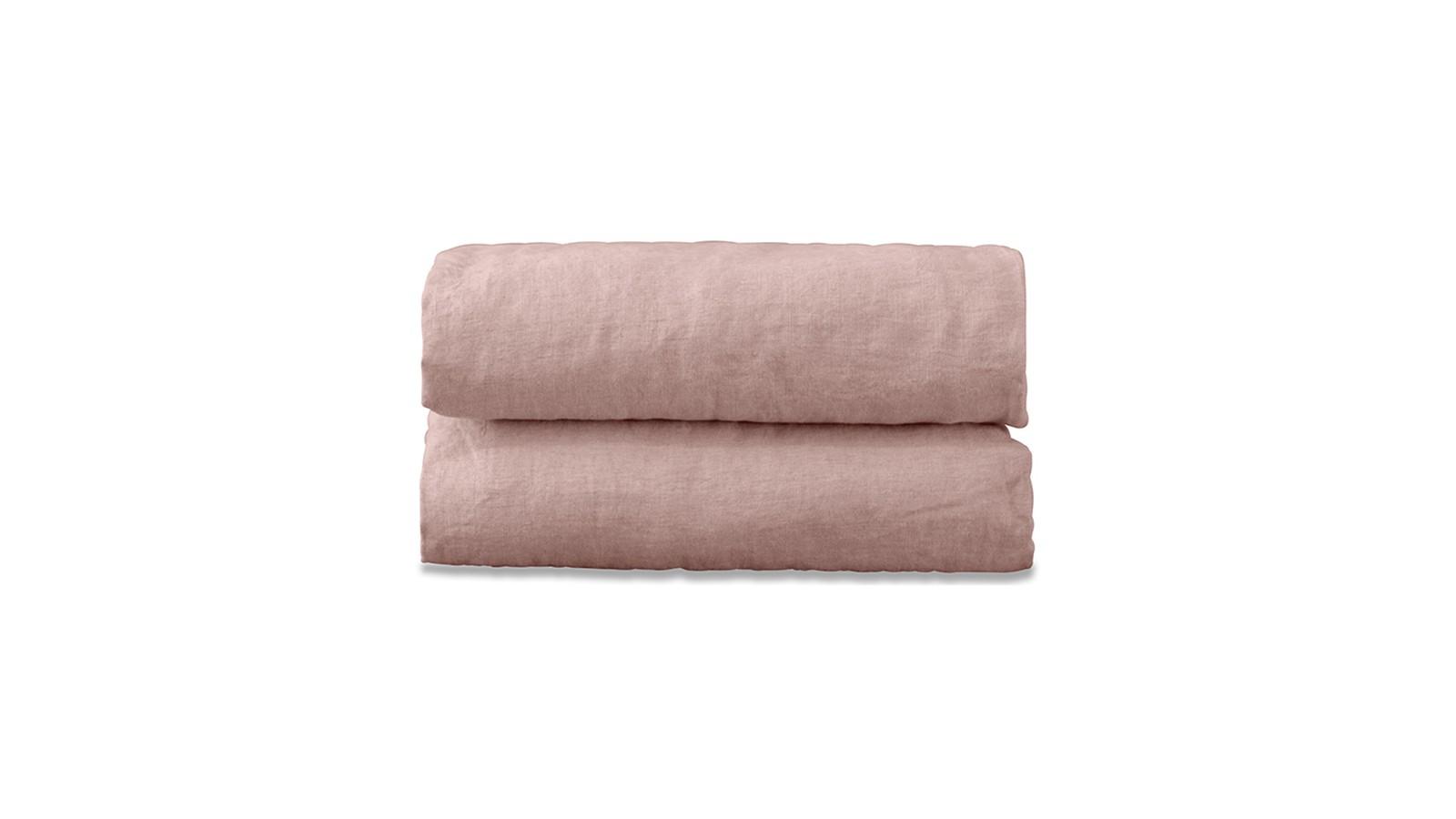 Drap plat 2 personnes en lin lavé uni Rose Rétro