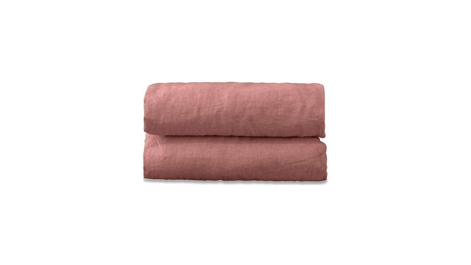 Drap plat 2 personnes en lin lavé uni Rose Boudoir
