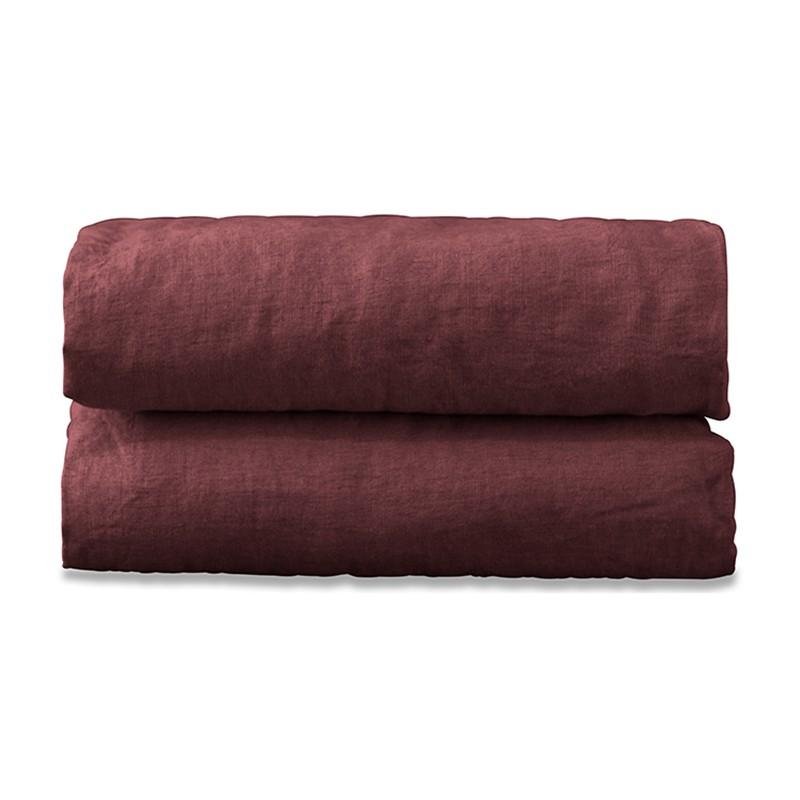 Drap plat 2 personnes en lin lavé uni Rose Tomette