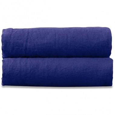 Drap plat 2 personnes en lin lavé uni Bleu Klein
