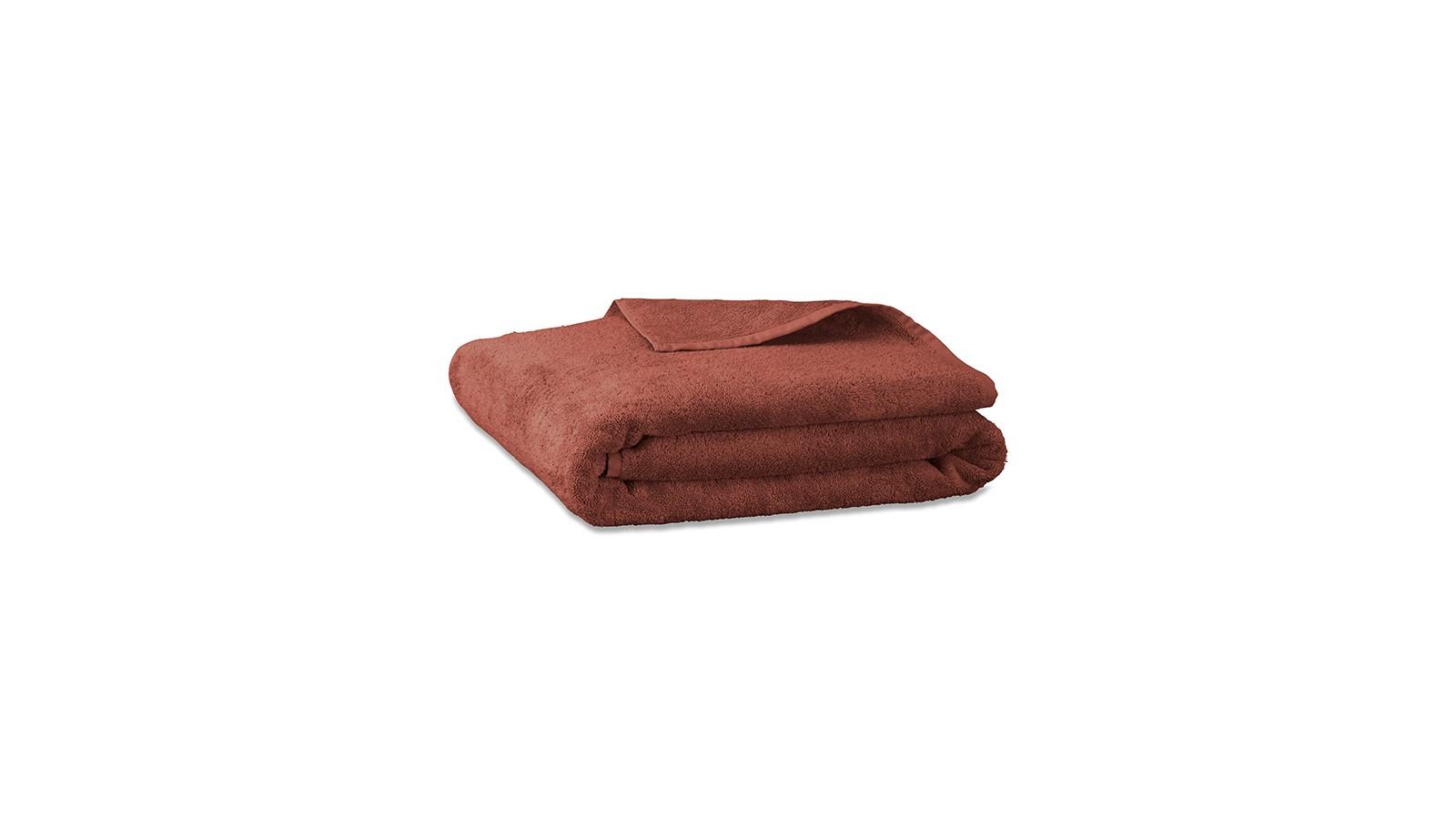 Drap de bain en éponge de coton bio Orange Terracotta