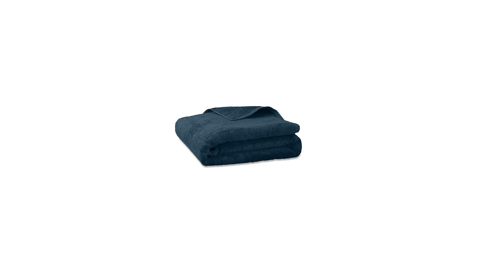 Serviette de bain en éponge de coton bio Bleu Pétrole