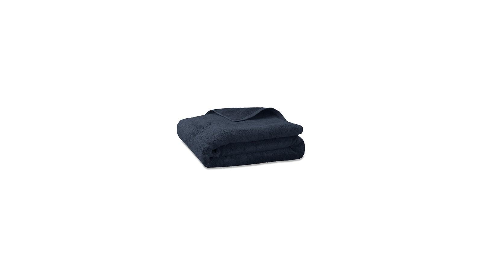 Serviette de bain en éponge de coton bio Bleu Encre