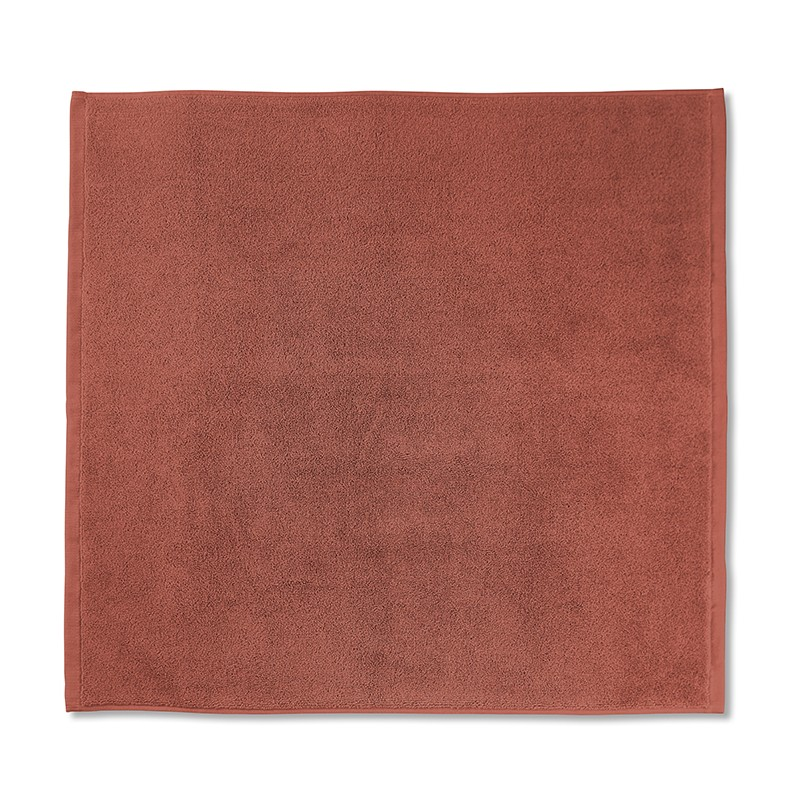 Tapis de bain en éponge de coton bio Orange Terracotta