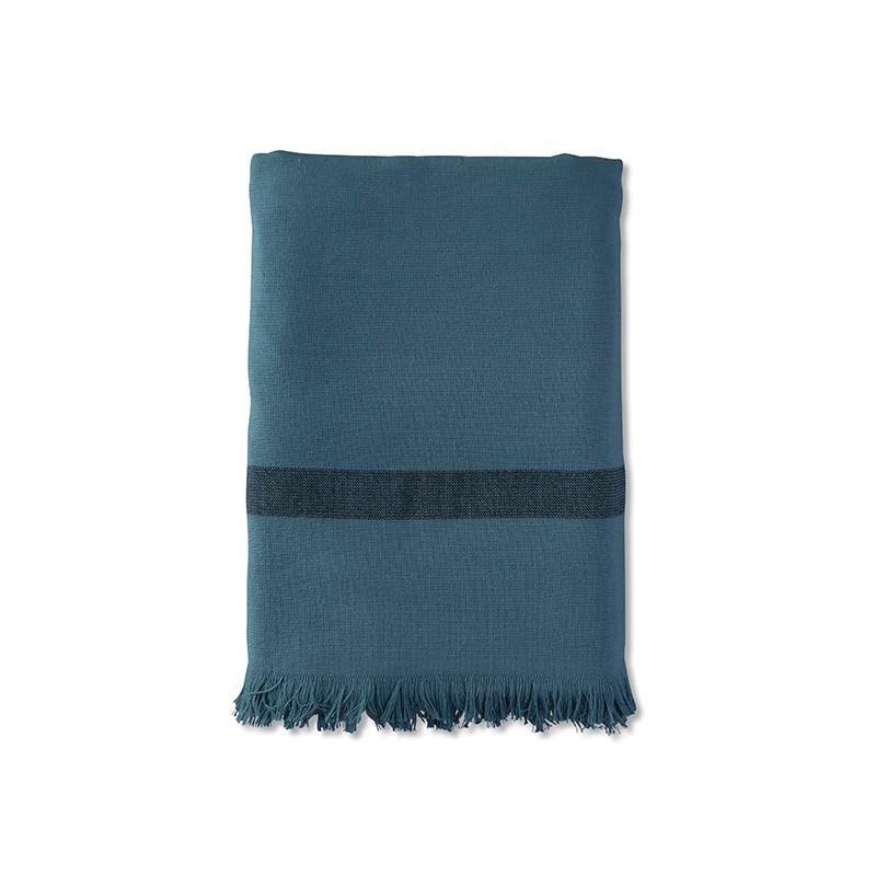 Fouta éponge 90 x 200 cm en coton bio Bleu Pétrole