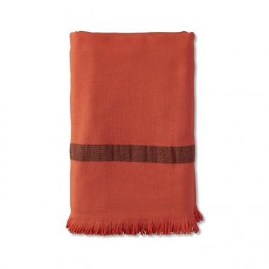 Fouta éponge 90 x 200 cm en coton bio Orange Terracotta