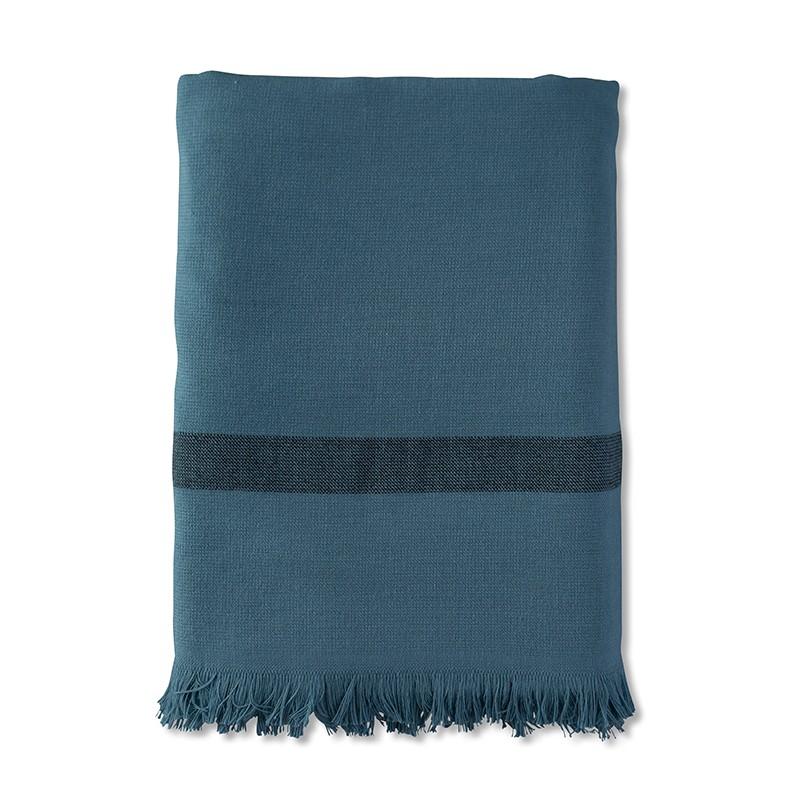 Fouta 2 places éponge 200 x 200 cm en coton bio Bleu Pétrole