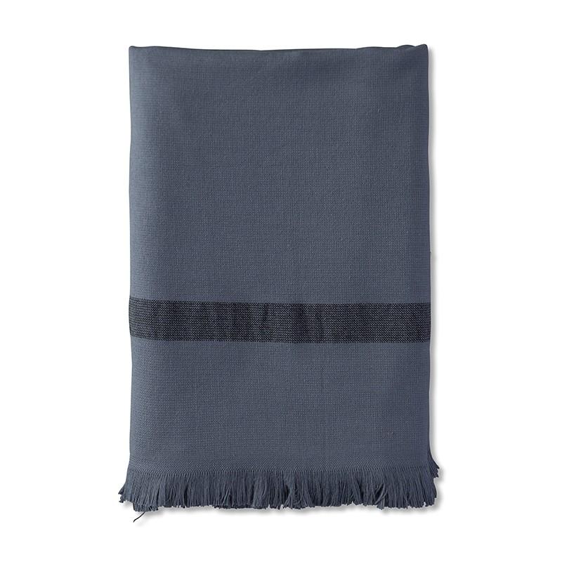 Fouta 2 places éponge 200 x 200 cm en coton bio Bleu Encre