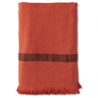 Fouta 2 places éponge 200 x 200 cm en coton bio Orange Terracotta