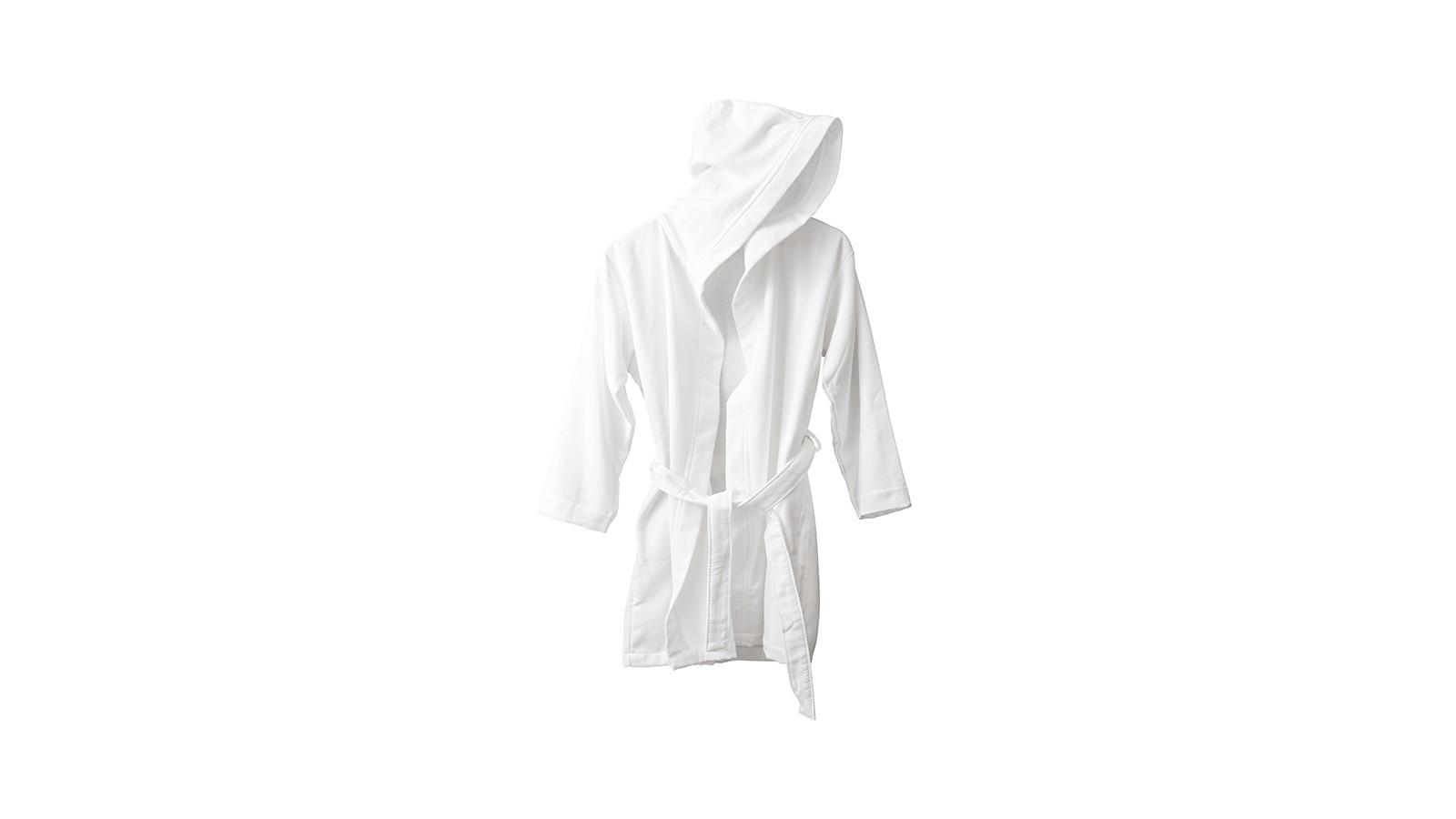 Peignoir capuche en éponge coton bio Blanc Optique