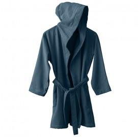 Peignoir capuche en éponge coton bio Bleu Pétrole