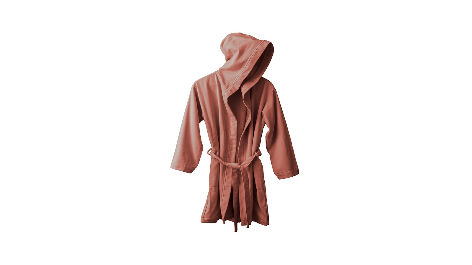 Peignoir capuche en éponge coton bio Orange Terracotta