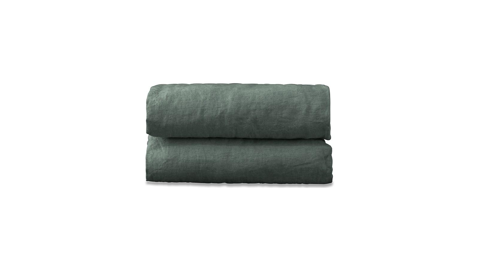 Nappe carrée en lin lavé uni Vert Eucalyptus